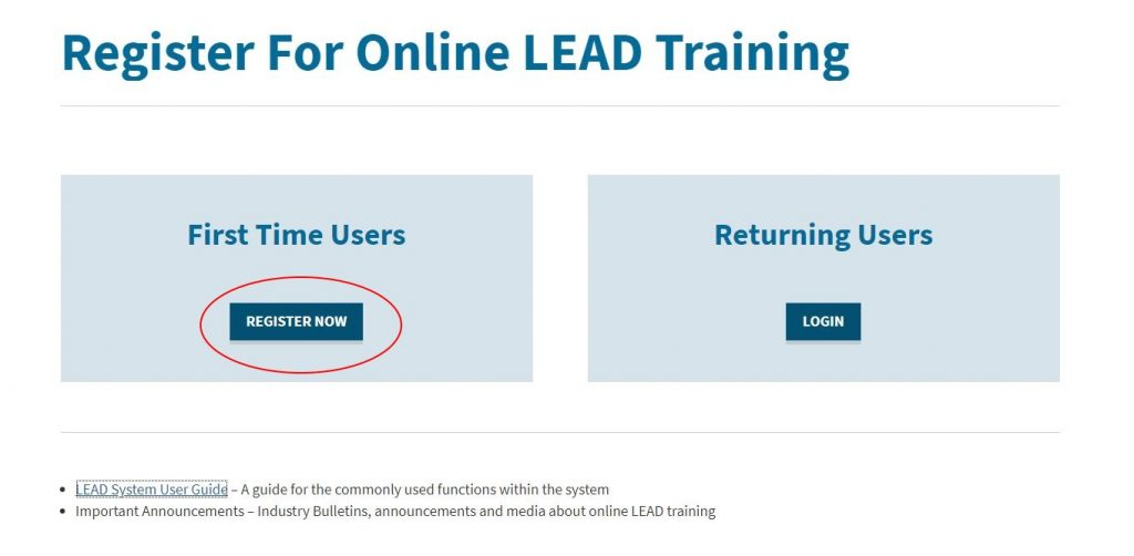 Online LEAD First Time User