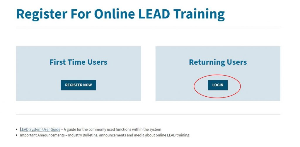 Online LEAD Returning Users