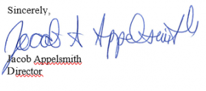 "Signature block that reads, ""Sincerely, Jacob Appelsmith, Director""."