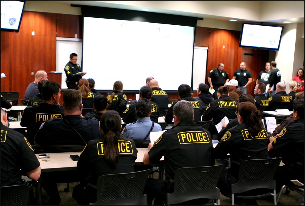 An ABC briefing in Escondido before ABC Agents, pictured in full uniform, went out and made multiple arrests for illegal drug activity.